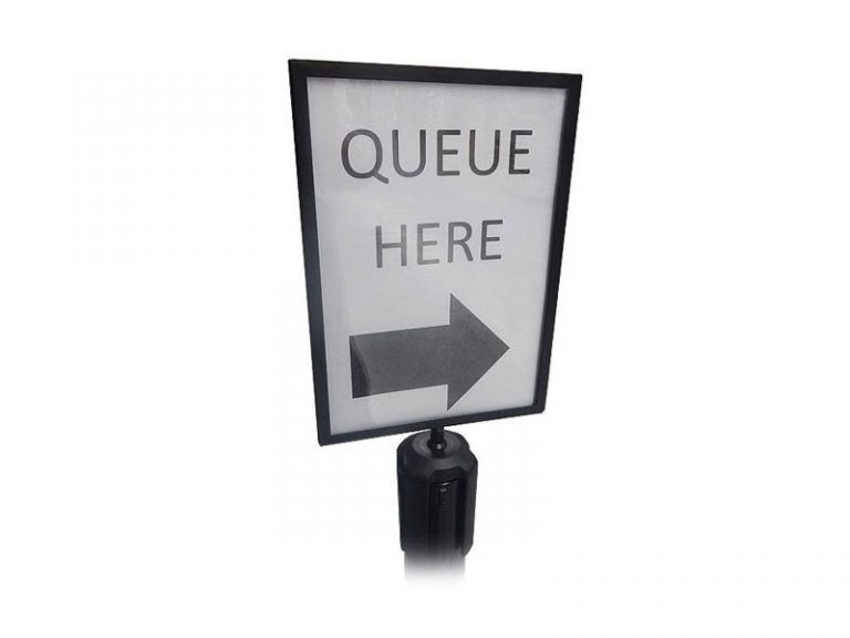 A4 Sign Holder For Freestanding Black Stretch Barrier