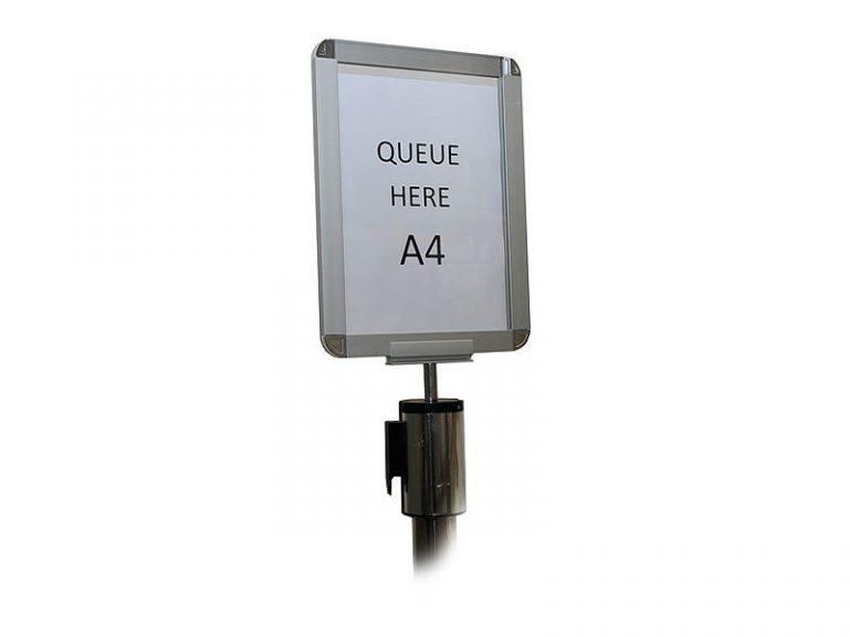 A4 Sign Holder For Freestanding Chrome Stretch Barrier